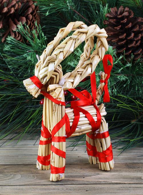 Swedish straw goat ornament