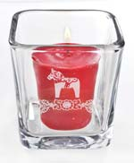 Dala Horse Etched Glass Votive